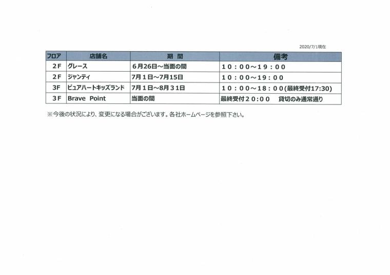 営業短縮状況(7月1日更新)